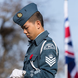 Honour Guard by Garry Dosa - People Portraits of Men ( celebration, somber, flag, outdoors, poppy, cadet, remembrance day, ceremony, person, solemn, uniforms, people )