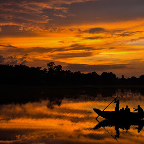 Return by Topu Saha - Landscapes Sunsets & Sunrises ( water, sunset, fine art, fishing, fisherman, boat, landscapes, landscape,  )