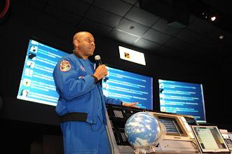 Photo: Astronaut Satcher in the Blast Off Theatre... he tweets under Astro_Bones and ZeroG_MD