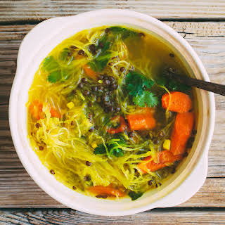 Squash Noodle Soup with Healing Turmeric-Ginger Broth, Roasted Carrots and Beluga Lentils.