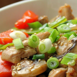 Chinese Garlic Chicken and Vegetables on Spaghetti Squash.