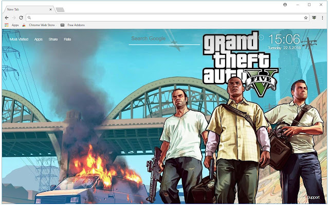 Grand Theft Auto 5 Backgrounds HD GTA New Tab