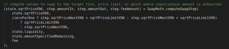 Code block inside swap function