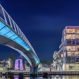 The bridge by Jørgen Schei - City,  Street & Park  Night ( cityscapes, fredrikstad, building, sky, blue, night, bridge, city, river )