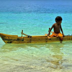 tiny boat by Bastian M - Transportation Boats (  water,  papua, beach,  child , boat )