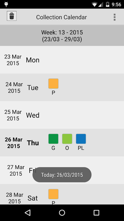 Collection calendar LITE- screenshot