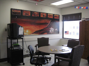 Photo: One of the common rooms on the NASA ward, with a Martian mural