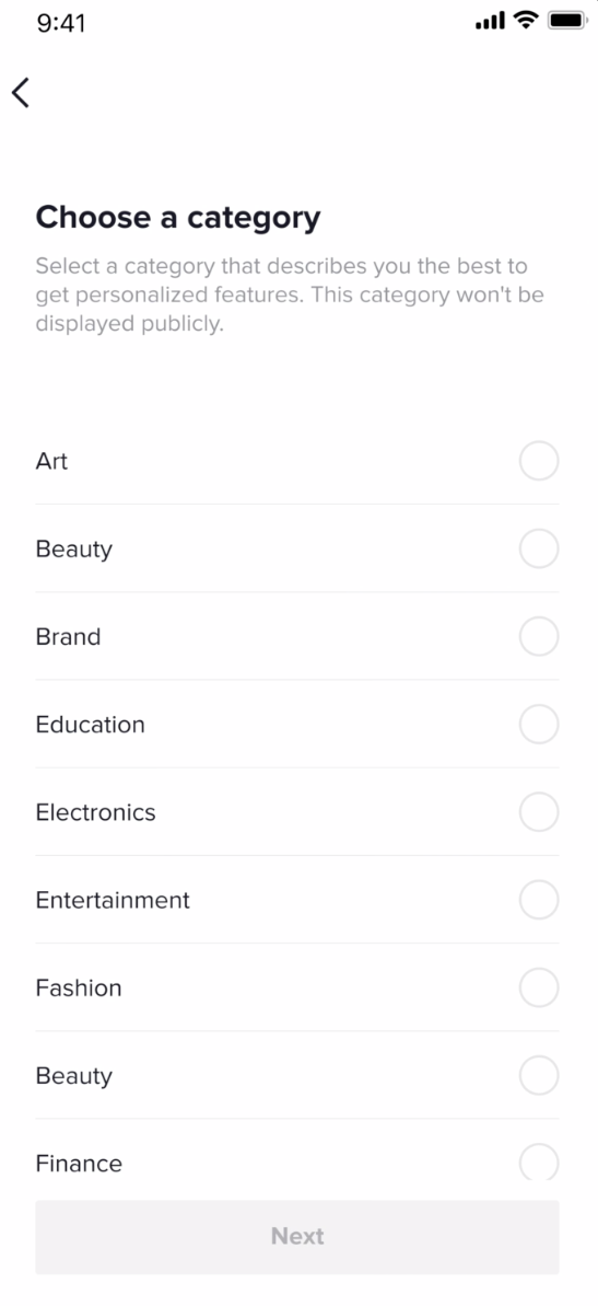 choosing a category for your TikTok business account