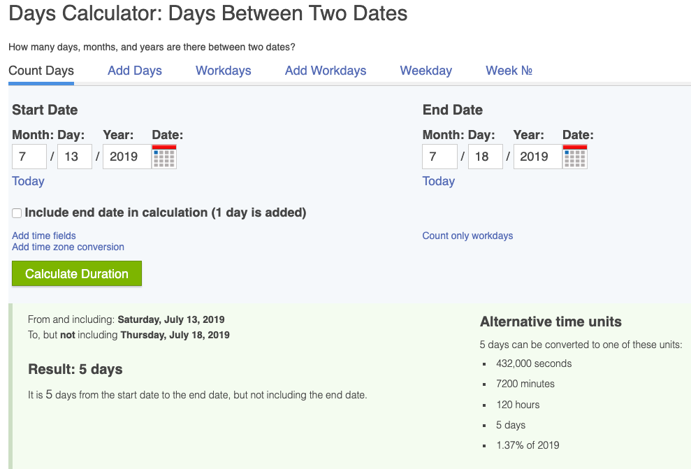 Date Calculator identifies the duration between two dates.