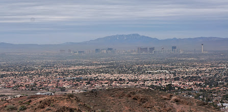 Photo: View of the Las Vegas Strip. Unfortunately, there was a fair bit of haze that day.