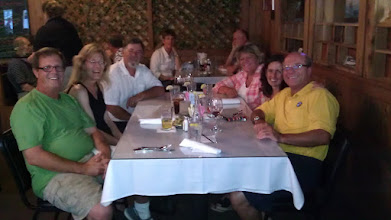 Photo: Dinner with the gang. L to R - Darrell, Lisa, Jim and Dale (Sweet Pea), Laura and Ross (The Zone)