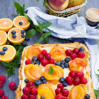 Peach Orange Mango and Ricotta Tart with Phyllo Dough.
