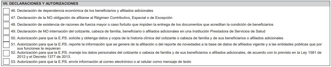 Declaraciones y autorizaciones