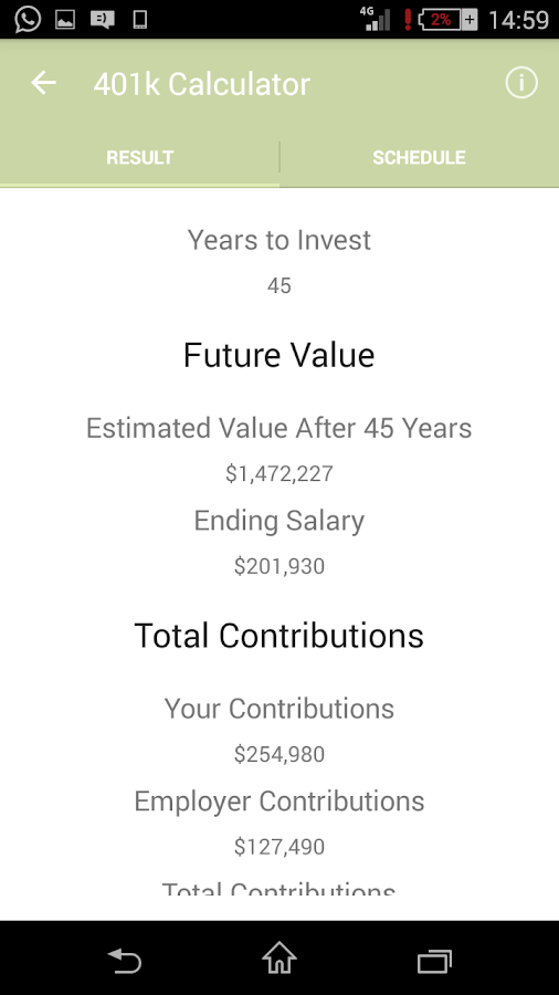 401k Calculator Android Apps on Google Play – 401k Calculator