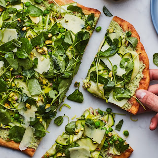 White Pizza with Shaved Vegetables and Pesto.