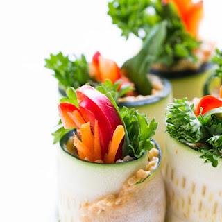 Quinoa + Hummus Zucchini Roll Ups.