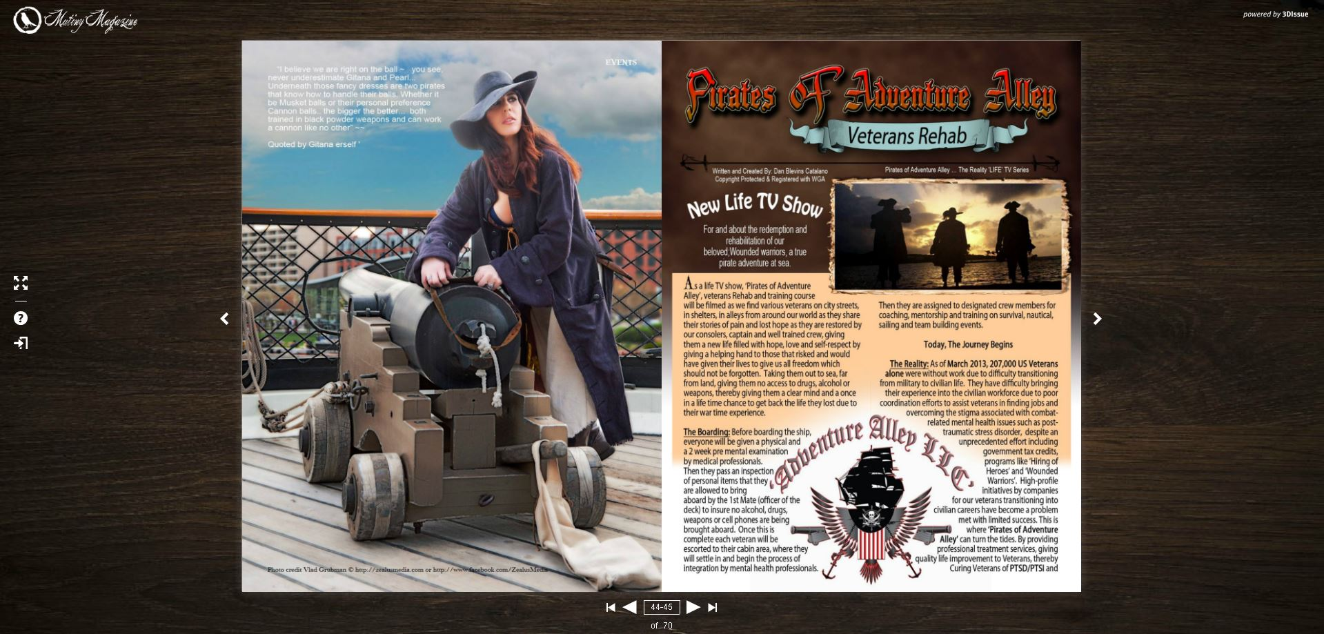 Publication in Mutiny magazine, 2015 - internal page - pirate cannoneer - Photography by Vlad Grubman / Zealusmedia.com