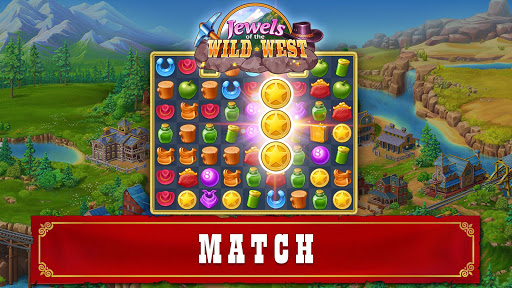 Jewels of the Wild West: Match gems & restore town android2mod screenshots 15