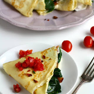 Spinach, Bacon, and Brie Breakfast Crêpes.