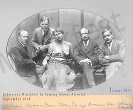 Photo: Schweizer Musikfest Leipzig (Hotel Astoria) 1918 mit Fritz Brun - Dirigent & Komponist (1878-1959), Alphonse Brun - Geiger, Ilona Durigo- Sängerin (1881-1943), Hermann Suter- Komponist (1870-1926), Othmar Schoeck - Komponist (1886-1957)