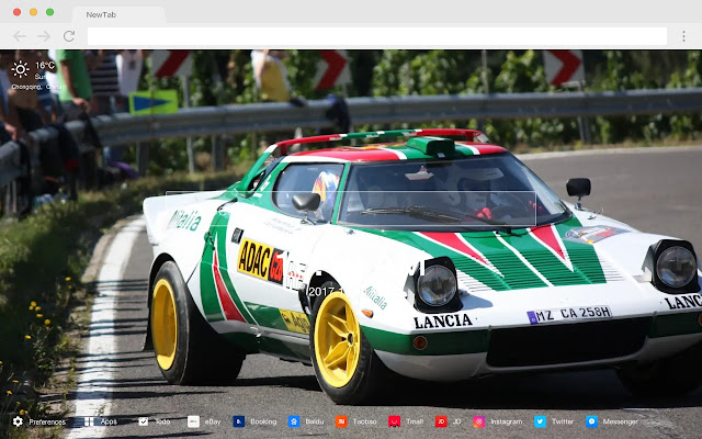 Rally Car New Tab Page HD Car Top Theme
