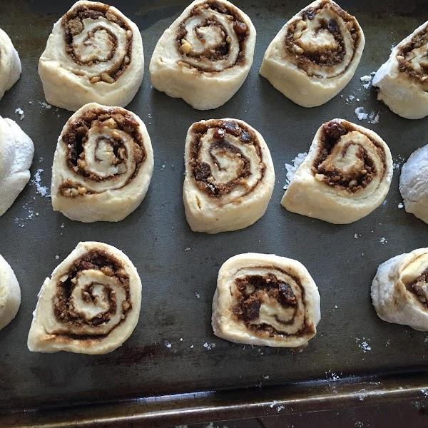 For cinnamon raisin buns. Spray sheet pan with oil spray. Place buns on sheet...