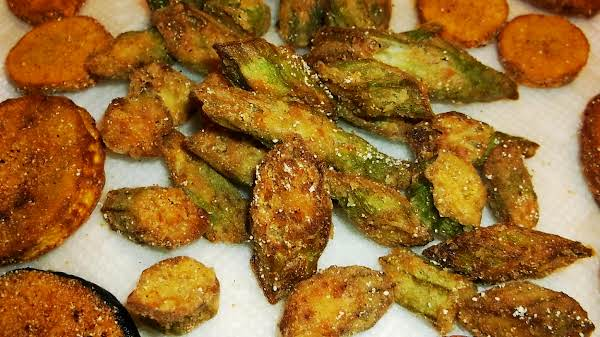 Fried Okra, Zucchini And Yellow Summer Squash.