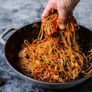 30 Minute Korean Tuna and Stir Fried Shishito Pepper Rainbow Veggie Noodles..