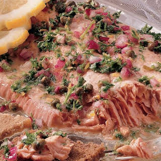 Poached Salmon with Honey-Mustard Sauce.