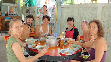 Photo: Daniel Fonseca along with participants of Yoga TTC during lunch time.