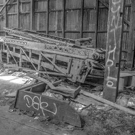 Broken Conveyor by Ella Kingston - Black & White Buildings & Architecture ( conveyor, abandoned buiding, workshop, decay, black and white, warehouse, machinery,  )