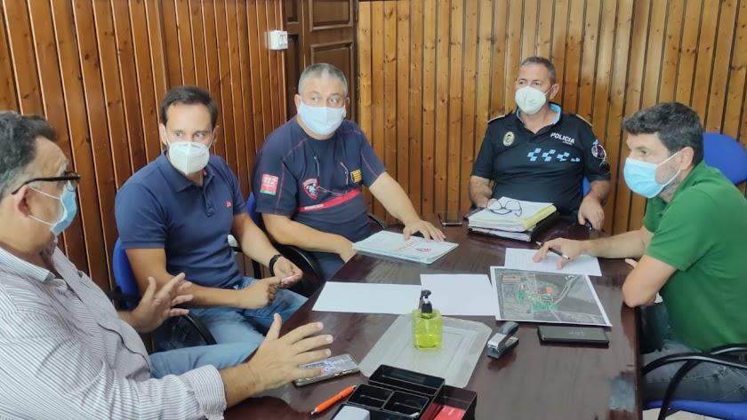 Reunión de coordinación del simulacro.