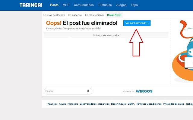 post eliminados en Taringa!