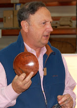 Photo: Stan with a very thin bowl from the Mazanita root burl.