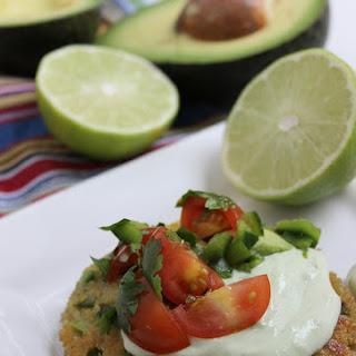 Avocado Quinoa Cakes with Avocado Crema and Salsa Fresca