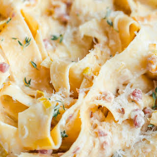 Creamy Leek and Pancetta Pappardelle for Two.
