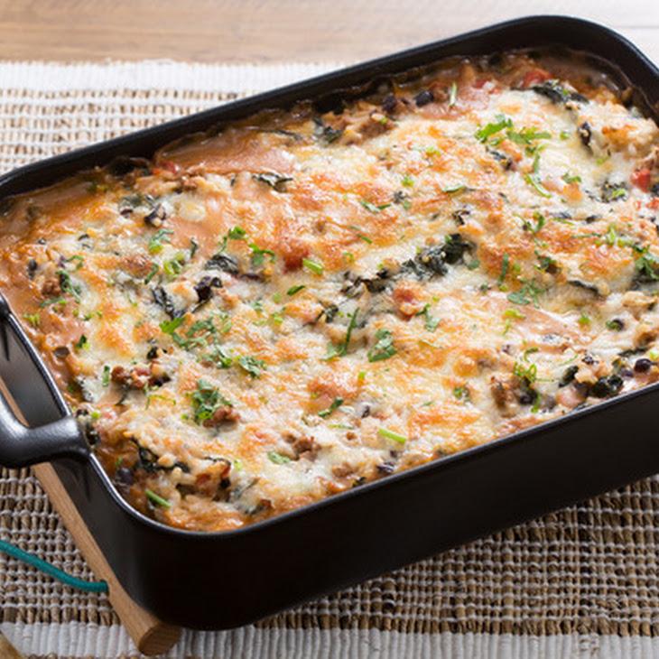 Mexican Chicken & Rice Casserole with Monterey Jack Cheese & Lacinato Kale Recipe