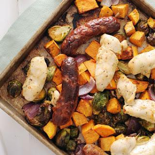 Autumn Chicken and Sausage Sheet Pan Dinner.