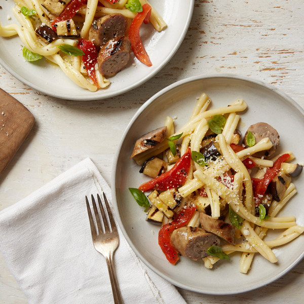 Pasta with Grilled Sausage, Peppers and Eggplant Recipe | Yummly