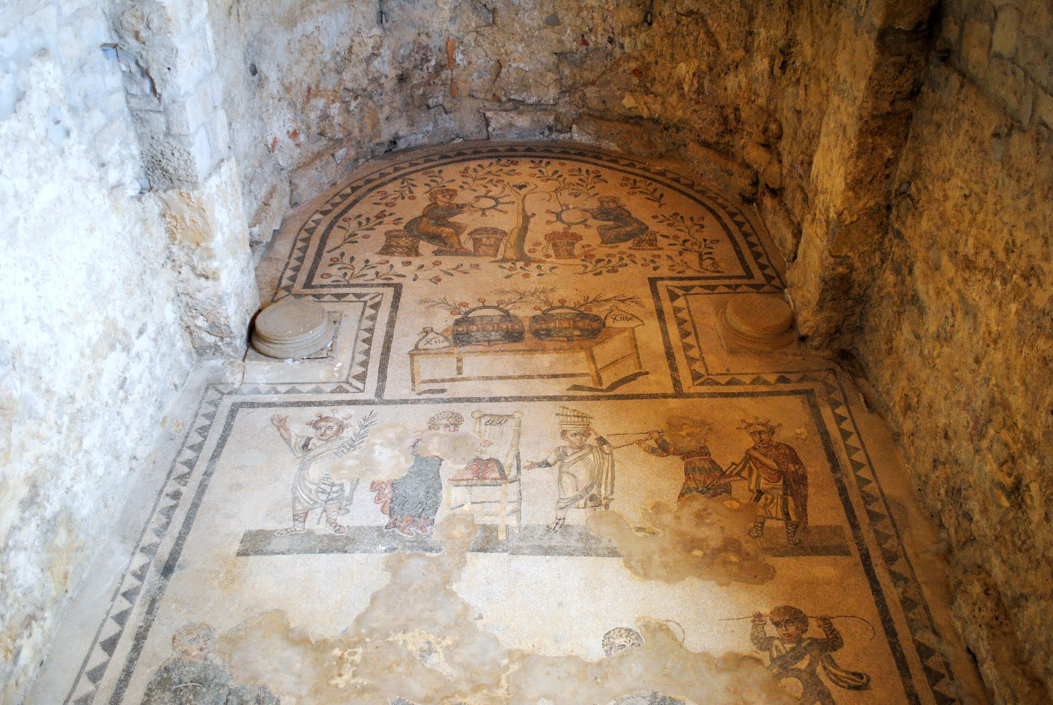 My Photos: Italy -- Mosaics -- Sicily -- Piazza Armerina -- Cubicle of Musicians & Actors Mosaic