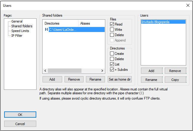 Establecer directorio y permisos en el servidor ftp