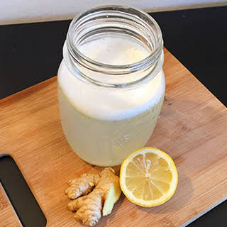 Frothy Hot Lemon Water with Ginger.