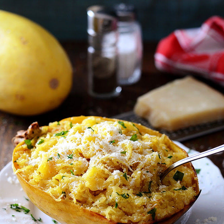 Baked Spaghetti Squash with Butter and Parmesan Cheese Recipe