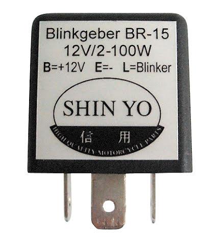 SHIN YO blinkersrelä SY-02, 3-poligt, 12 VDC, 1-100 Watt