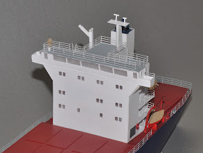 Photo: The front of the 5-story house of the 500-foot 2nd Gen Container ship. By this time the top decks were fairly clear of gear. More modern davits and rescue boat would come a few years later.