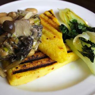 Polenta Bruschetta with Creamy Wild Mushrooms, Wine and Thyme