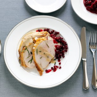 Roasted Turkey Breast with Creamy Gravy and Cranberry Pomegranate Sauce
