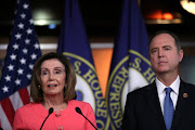 U.S. House Speaker Nancy Pelosi announces the House of Representatives managers for the Senate impeachment trial of U.S. President Donald Trump during a news conference at the U.S. Capitol in Washington, U.S., January 15 2020. At right is Representative Adam Schiff.