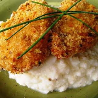 Baked Fried Chicken With Cauliflower Mash.