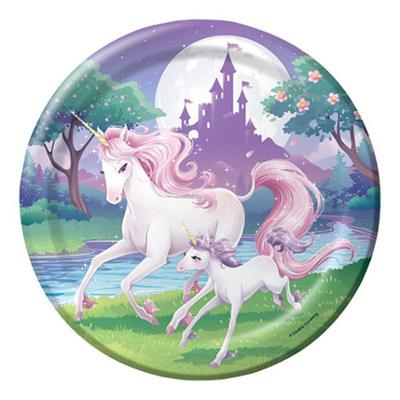 Discount Party Supplies Unicorn Fantasy - Paper Plates Dinner 8 Pk